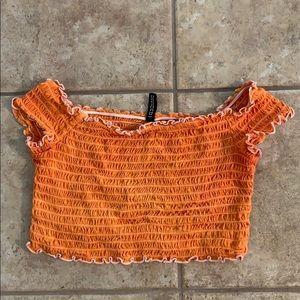 Orange off the shoulder crop top